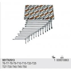 ZESTAW -KLUCZE TRZPIENIOWE TYPU T, PROFIL TORX® 13SZT. 951TX/S13