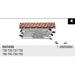 ZESTAW - KLUCZE TRZPIENIOWE TYPU T, PROFIL TORX®, Z PRZEGUBEM 8SZT. 953TX/S8